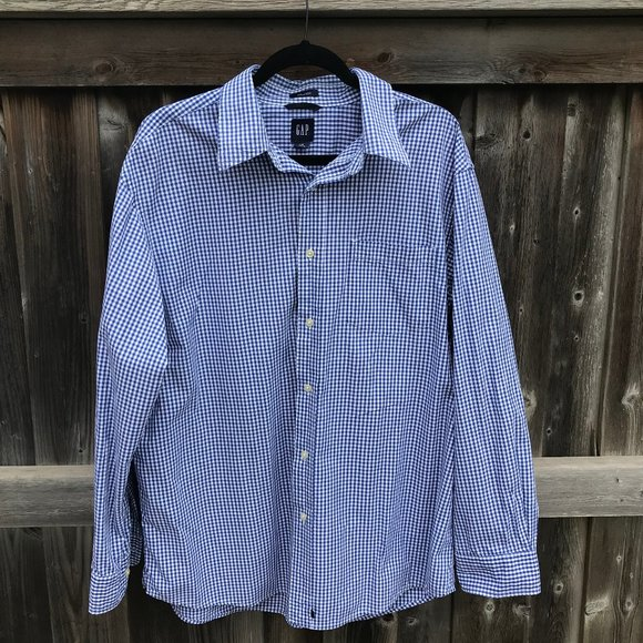 GAP BLUE CHECKERED MEN'S SHIRT RELAXED SIZE L